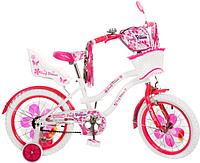 Детский двухколесный велосипед PROF1 мульт 18 дюймов PW1862G Flower с сиденьем для кукол, бело-малиновый