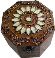 Шкатулка деревянная восьмигранная с медной отделкой 172038 (ТМ Дерево)