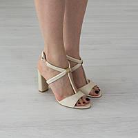 Босоножки Woman's heel 40 кожаные молочные (О-648), фото 1