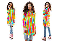 Рубашка женская длинная из штапеля с абстракцией P2590