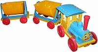 Игрушка Поезд-конструктор с 2 прицепами 013118 Фламинго-Тойс (голубой)