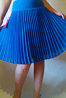 Юбка гофре шифон темная бирюза голубая, средняя длина