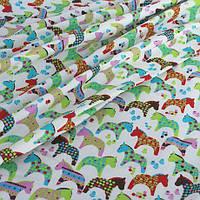 """Декоративная ткань хлопковая (экокоттон) """"Разноцветные лошадки"""""""