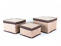Набор коробок из 3 шт. для хранения мелочей бежевые