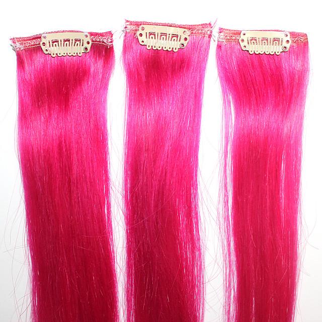 Прядь натуральных волос на заколке ярко-розовая