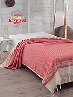 Покрывало хлопковое Eponj Home - Enlora Haris красное 200*240