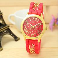 Женские часы силиконовые Geneva с золотой цепочкой красные