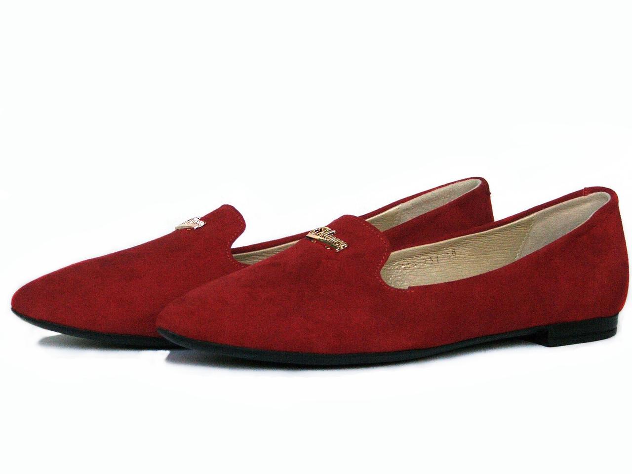 Туфли лоферы из красной замши с украшением