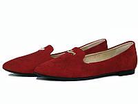 Туфли лоферы из красной замши с украшением, фото 1