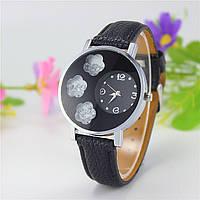 Женские часы три цветка с камнями внутри на ремешке из экокожи черные