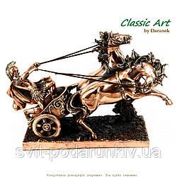 Статуэтка колесница и лошади с античным воином TS697