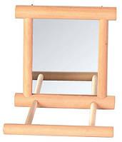 Зеркало с деревянной рамкой с жёрдочкой