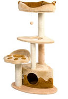 Дряпка для кошек Природа Городок угловой, бежевый/коричневый