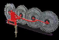 Грабли ворошилки на круглой трубе Wirax Польша на 4 секции черная спица 5 мм