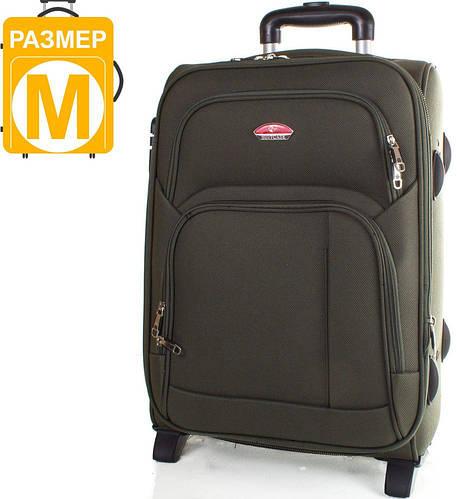 Средний двух колесный тканевый чемодан 56 л. SUITCASE (СЬЮТКЕЙС) APT001M-16 зеленый