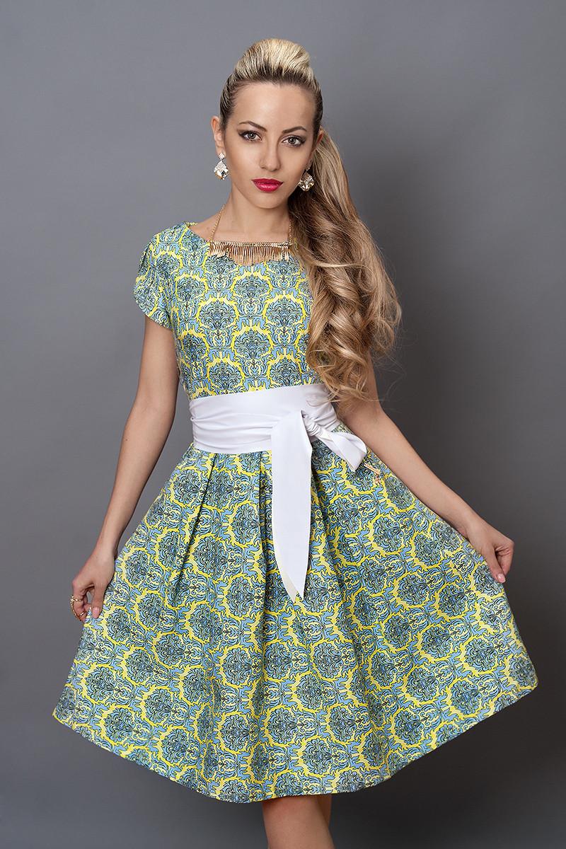 Сукня мод 249-1 розмір 44,46 жовтий орнамент