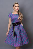 Платье  мод 249-3 размер 44,46 джинс розовый горох