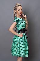 Платье  мод 249-4 размер 40,46, бирюза в черный горох