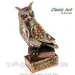 Фигурка совы на книгах с декором из мозаики EXS517
