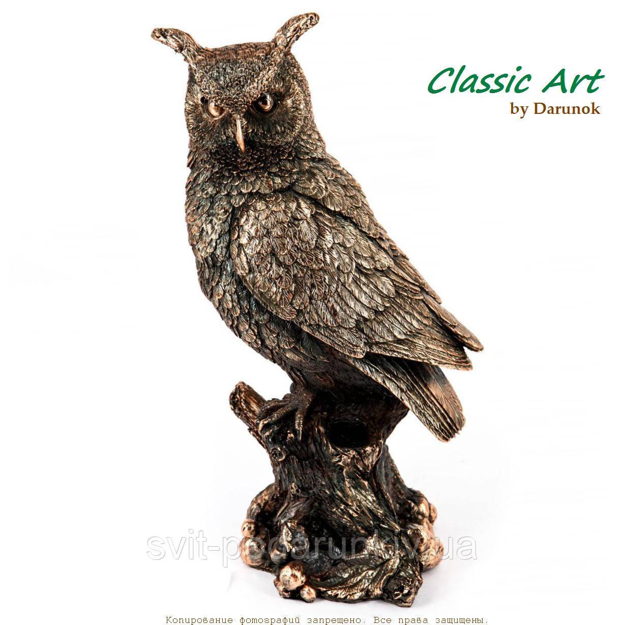 Статуэтка сова на дереве покрытая слоем меди ES448