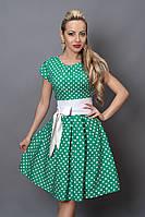Платье  мод 249-13 размер 46 бирюза в белый горох