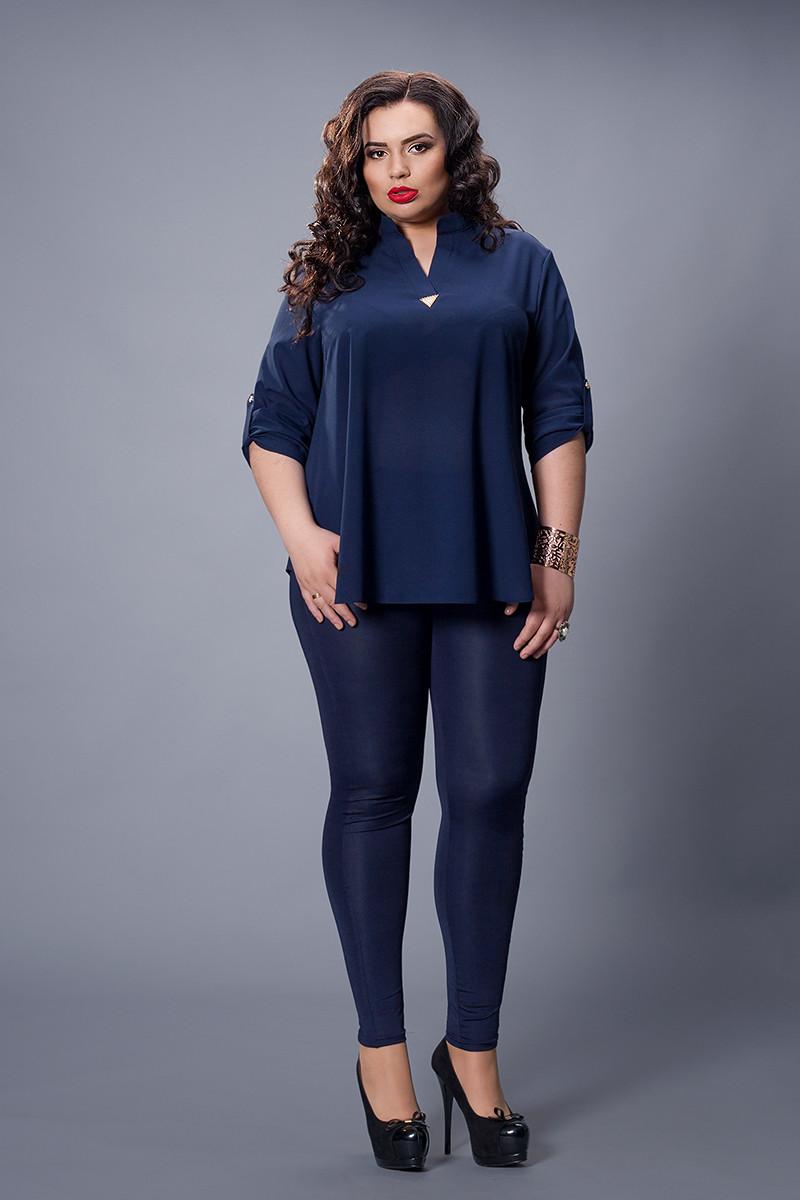 Блуза  мод 501-2 размер 50-52,52-54 темно синяя