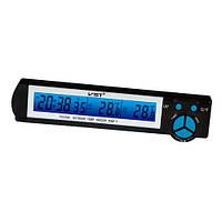 Авточасы VST 7043, компактные авточасы с термометром vst, часы в машину, часы автомобильные электронные