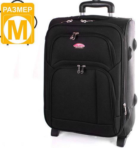Средний двух колесный тканевый чемодан 56 л. SUITCASE (СЬЮТКЕЙС) APT001M-2 черный