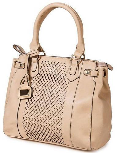 Удивительная классическая сумка женская искусственная кожа Bretton 14730 beige