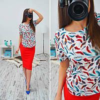 Женский стильный яркий летний комплект: блуза и юбка-карандаш (или отдельно)