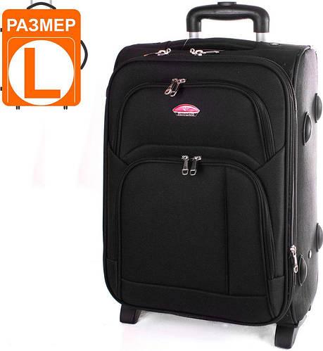 Большой вместительный чемодан на 2-х колесах 86 л. SUITCASE (СЬЮТКЕЙС) APT001L-2 черный