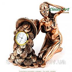 Настольные интерьерные часы статуэтка Фортуна с рогом изобилия TWS1333