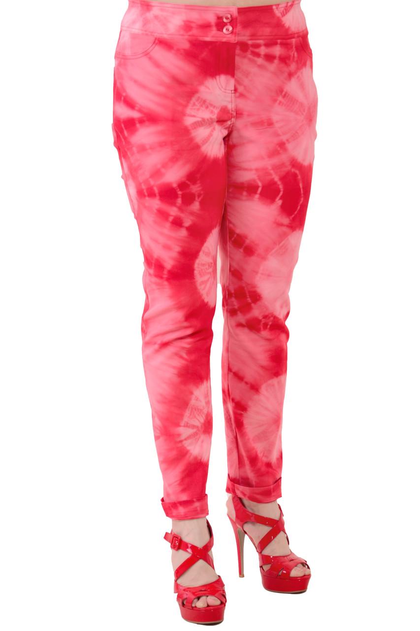 Розовые брюки узкие , большие размеры стрейч, бр 001-3.