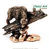 Статуэтка медведя на бревне с камнями ES589, фото 2