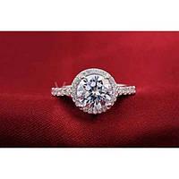 Серебряное кольцо с кристаллом и фианитами