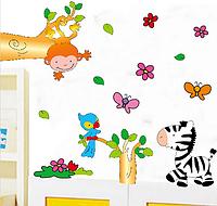 """Магазин детских наклеек """"Зебра, попугай и обезьяна"""""""