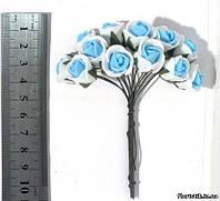 Роза из фуамирана на проволоке, голубая с белым