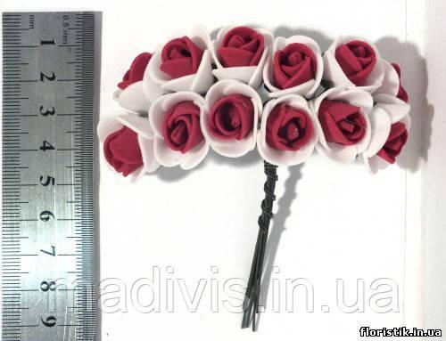 Роза из фуамирана на проволоке, бордовая с белым