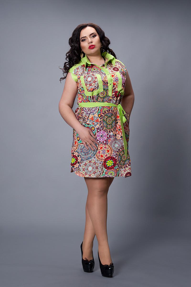 Платье мод №478-2, размер 48,50,52,54 салатовое с бордовым