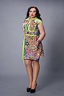 Платье мод №478-3, размер 48,50 салатовое с электриком