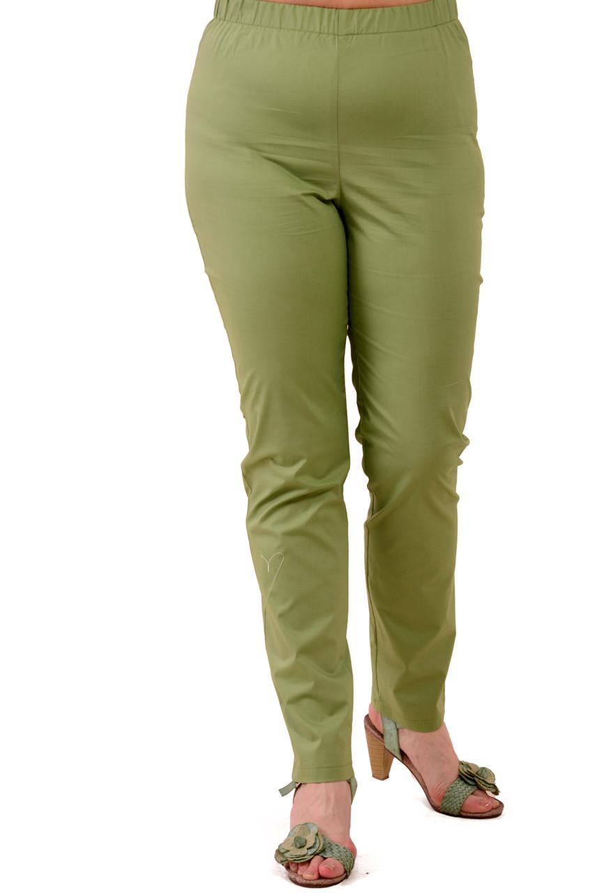 Зеленые летние брюки  женские, 46-54, Бр 015-3.