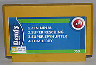 Картридж для Dendy 4в1 Zen Ninja, Super Spyhunter, Tom Jerry