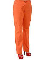 Оранжевые льняные летние брюки  женские, 46-54, Бр 652-1.