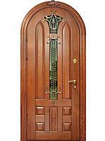 Двери входные арочные массив+ковка  модель Екатерина