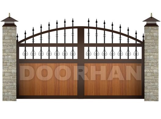 Распашные ворота Doorhan из сэндвич-панелей с вензелями