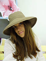 Бежевая льняная шляпа, фото 1