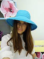 Льняная шляпка небесно-голубого цвета, фото 1