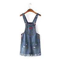 Джинсовый комбинезон юбка с бахрамой , фото 1