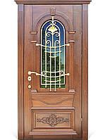 Элитные входные двери для коттеджа (массив + ковка) модель Тернополь