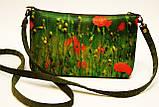 Жіноча сумочка Маки на зеленому, фото 2